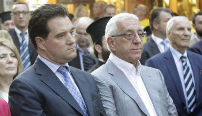 Οι βουλευτές Νικήτας Κακλαμάνης και Άδωνις Γεωργιάδης στα εγκαίνια του κοινωνικού φαρμακείου της Αρχιεπισκοπής Αθηνών ΦΩΤΟ ΧΡΗΣΤΟΣ ΜΠΟΝΗΣ/EUROKINISSI