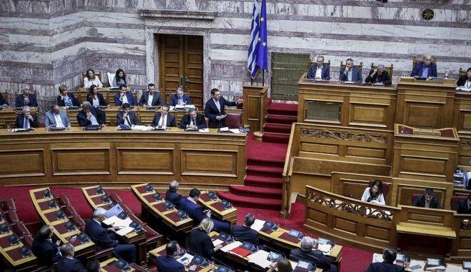Στιγμιότυπο από την συνεδρίαση της Βουλής