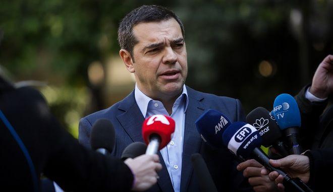 Δηλώσεις του Πρωθυπουργού Αλέξη Τσίπρα μετά την συνάντηση με τον Πρόεδρο των Ανεξάρτητων Ελλήνων Πάνο Καμμένο στο Μέγαρο Μαξίμου την Κυριακή 13 Ιανουαρίου 2019.