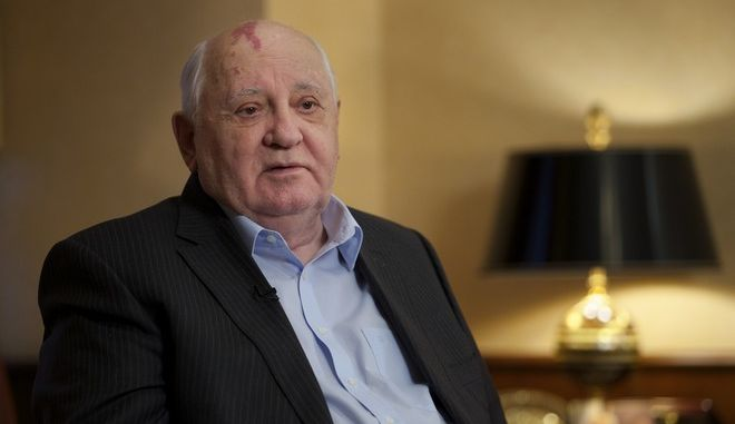 In this photo taken Friday, Dec. 9, 2016 former Soviet President Mikhail Gorbachev speaks to the Associated Press during an interview at his foundation's headquarters, in Moscow, Russia. Gorbachev said the West has wasted a chance to build a safer world after the Cold War while the U.S. has gloated at the Soviet Union's demise. (AP Photo/Ivan Sekretarev)