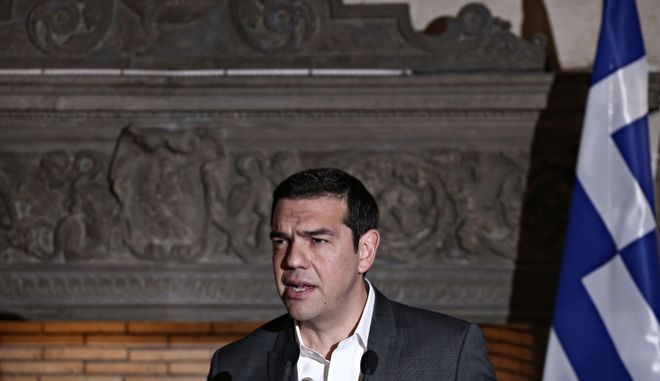 Prime minister of Estonia Juri Ratas and Prime Minister of Greece Alexis Tsipras  hold a press conference after their meeting at the Maximos mansion in Athens, Greece on May 29, 2017 /           ,      29 , 2017