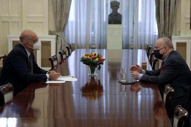 Συνάντηση του ΥΠΕΞ Νίκου Δένδια με τον εκπρόσωπο του ΣΥΡΙΖΑ Γιώργο Κατρούγκαλο
