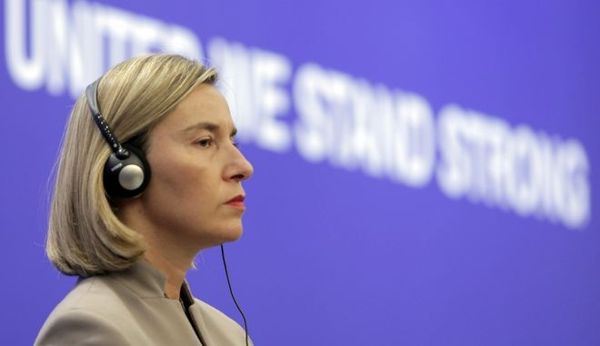 Federica Mogherini, High Representative of the Union for Foreign Affairs and Security Policy, listens to a question during briefing after the informal meeting of the EU foreign ministers in Sofia, Friday, Feb. 16, 2018.. The  meeting comprises working sessions on Syria, the Western Balkans and the Democratic People's Republic of Korea. (AP Photo/Valentina Petrova)