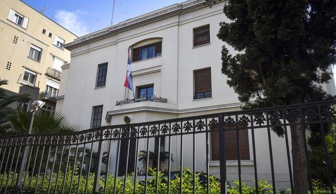 Το κτήριο της πρεσβείας της Σερβίας επί της οδού Βασιλίσσης Σοφίας