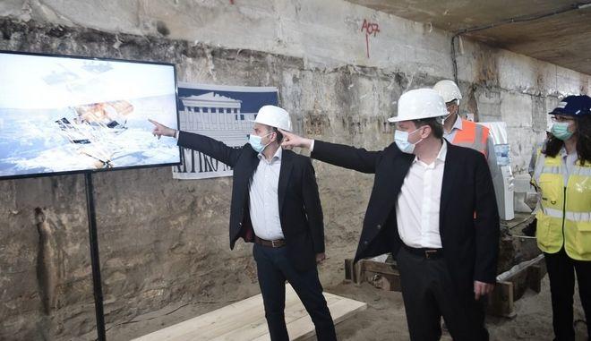 Από την επίσκεψη του υπουργού Μεταφορών και Υποδομών στο μετρό Θεσσαλονίκης.