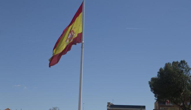 H ισπανική σημαία. Στιγμιότυπο από την ισπανική πρωτεύουσα