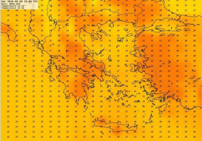 Χάρτης μέγιστων θερμοκρασιών