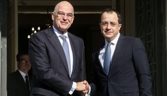 Συνάντηση του υπουργού Εξωτερικών Νίκου Δένδια, με τον Κύπριο ομόλογό του Νίκο Χριστοδουλίδη.