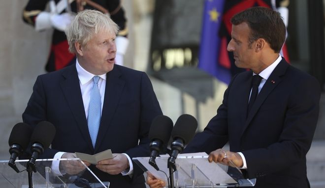 O πρόεδρος της Γαλλίας Εμανουέλ Μακρόν και ο πρωθυπουργός του Ηνωμένου Βασιλείου Μπόρις Τζόνσον