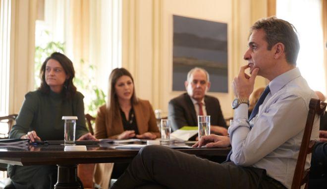Συνάντηση του Κυριάκου Μητσοτάκη με την πολιτική ηγεσία του υπουργείου Παιδείας (φωτογραφία αρχείου)