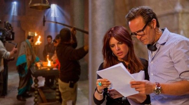Executive producers, Mark Burnette and Roma Downey on the set of