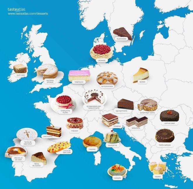 Χάρτης: Τα γλυκά της Ευρώπης