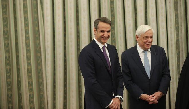 Ο πρωθυπουργός Κυριάκος Μητσοτάκης και ο Πρόεδρος της Δημοκρατίας Προκόπης Παυλόπουλος