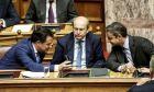 Οι κΜητσοτάκης, Γεωργιάδης και Χατζηδάκης στη Βουλή