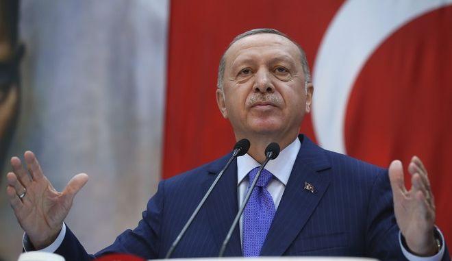 Ο πρόεδρος της Τουρκίας, Ρετζέπ Ταγίπ Ερντογάν σε εκδήλωση στην Κωνσταντινούπολη