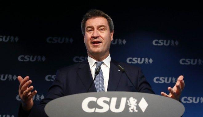 Ο πρωθυπουργός της Βαυαρίας Μάρκους Σέντερ σε συνέντευξη Τύπου στα κεντρικά γραφεία του CSU