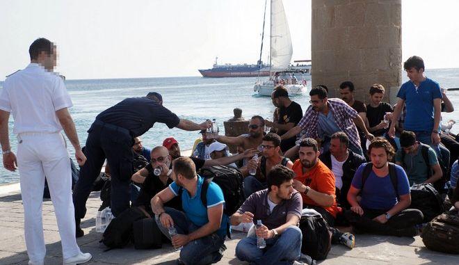 Μετανάστες στην Μυτιλήνη