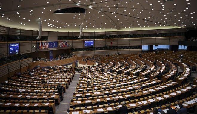 Άποψη από το εσωτερικό του ευρωπαϊκού κοινοβουλίου στις Βρυξέλλες