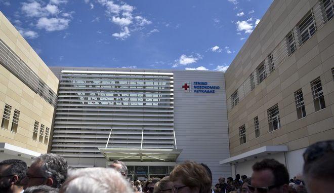 Στιγμιότυπο από τα εγκαίνια του νέου νοσοκομείου της Λευκάδας, παρουσία του πρωθυπουργού, Αλέξη Τσίπρα