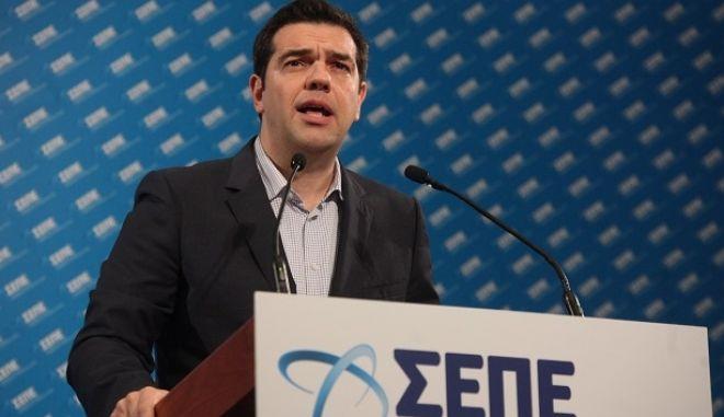 ΑΘΗΝΑ-Η ομιλία του Πρωθυπουργού Αλέξη Τσίπρα στο συνέδριο του ΣΕΠΕ.(Eurokinissi-ΖΩΝΤΑΝΟΣ ΑΛΕΞΑΝΔΡΟΣ)