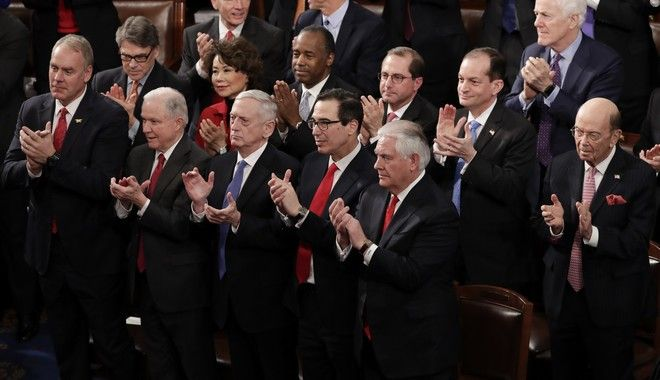 Member of the Cabinet applaud during President Donald Trump's State of the Union address to a joint session of Congress on Capitol Hill in Washington, Tuesday, Jan. 30, 2018. (AP Photo/J. Scott Applewhite)