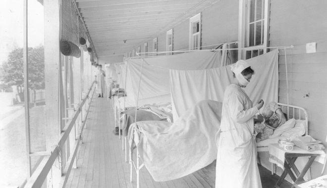Σε νοσοκομείο της Ουάσινγκτον το 1918.