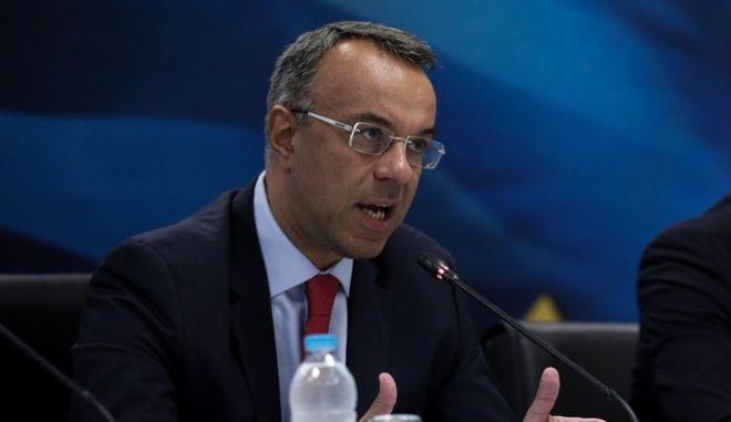Ο υπουργός Οικονομικών Χρήστος Σταϊκούρας κατα τη συνέντευξη τύπου για το θέμα των ηλεκτρονικών βιβλίων.