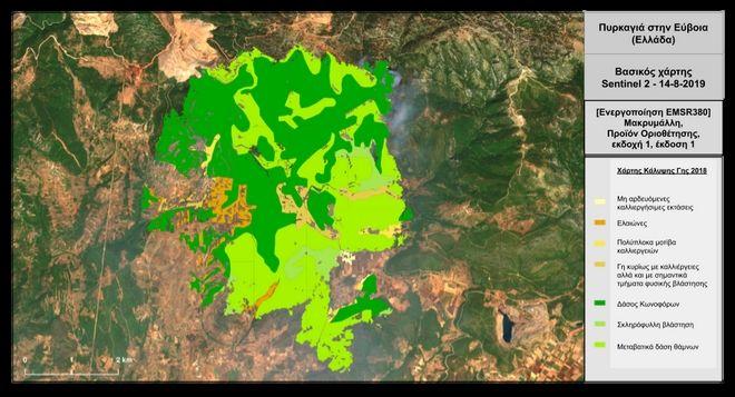 Χάρτης: Πυρκαγιά Εύβοια - Χρήσεις γης