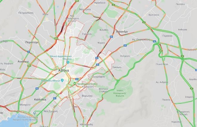 Κίνηση στους δρόμους Στα κόκκινα οι κεντρικές αρτηρίες του λεκανοπεδίου