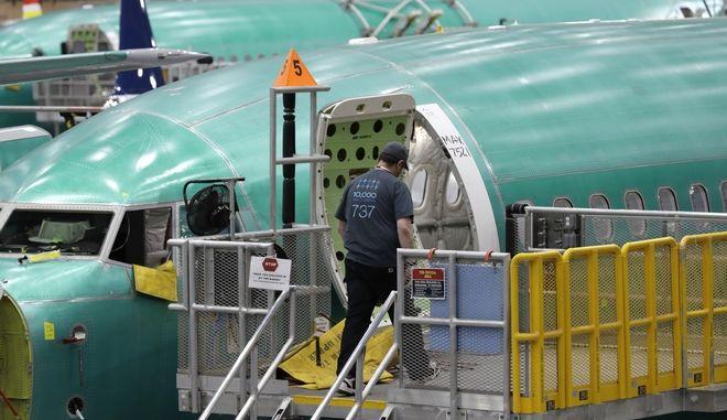 Στιγμιότυπο από την γραμμή παραγωγής του Boeing 737 MAX 8