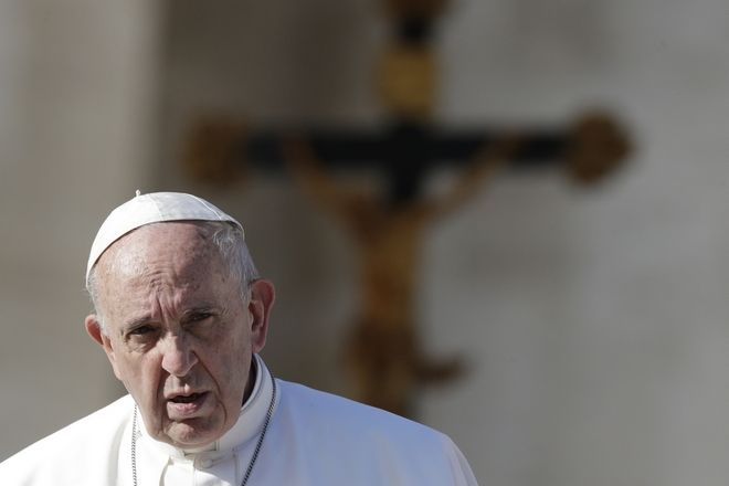 Pope Francis leaves at the end of his weekly general audience in St. Peter square at the Vatican, Wednesday, Nov. 22, 2017. (AP Photo/Andrew Medichini)