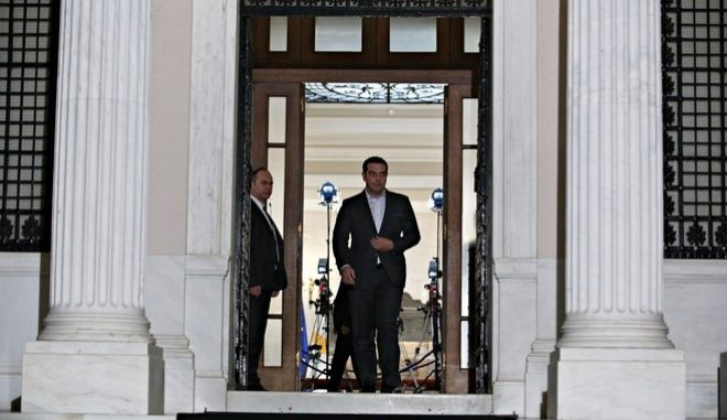 Greek Prime Minister, Alexis Tsipras, meets the Cypriot President, Nikos Anastasiadis, at Maximos Mansion in Athens, Greece on Nov. 16, 2016. /            ,     ,  ,  16 , 2016