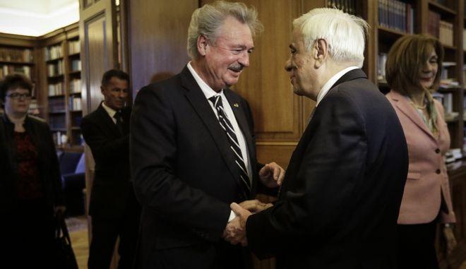 Συναντηση με τον Υπουργό Εξωτερικών Ζαν Άσελμπορν είχε ο ΠτΔ Προκόπης Παυλόπουλος, Τετάρτη 27/12/2017. (EUROKINISSI/ΠΑΝΑΓΟΠΟΥΛΟΣ ΓΙΑΝΝΗΣ)