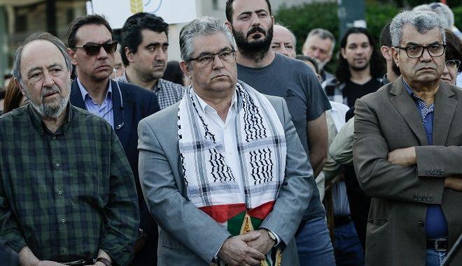 Συγκέντρωση διαμαρτυρίας από το ΠΑΜΕ την ΕΕΔΥΕ και άλλα ταξικά εργατικά σωματεία, έξω από την πρεσβεία του Ισραήλ ενάντια στην επιχείρηση του στρατού του Ισραήλ εναντίων του Παλαιστινιακού λαού, αλλά και μεταφορά της Αμερικανικής Πρεσβείας στην Ιερουσαλήμ. Δευτέρα 14/5/2018.