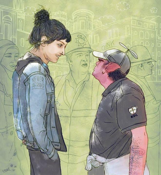 Η φωτογραφία-σύμβολο κατά του φασισμού και ένα υπέροχο σκίτσο για τη Saffiyah Khan