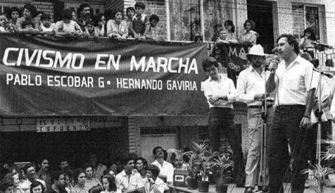 Pablo Escobar speaking to the public  during a political campaign