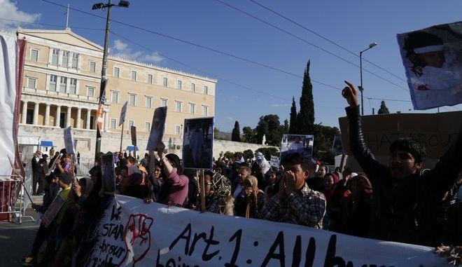 Αντιρατσιστικό-Αντιφασιστικό Συλλαλητήριο,  στη πλατεία Βικτωρίας και πορεία προς τη Βουλή και τα γραφεία της ΕΕ, Σάββατο 19 Μαρτίου 2016. (EUROKINISSI/ΣΤΕΛΙΟΣ ΜΙΣΙΝΑΣ)
