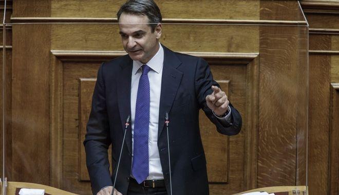 Ο Κυριάκος Μητσοτάκης στη συζήτηση επί της προτάσεως δυσπιστίας κατά του Υπουργού Οικονομικών Χρήστου Σταϊκούρα