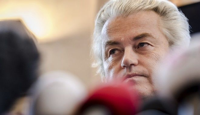 Dutch far-right leader Geert Wilders addresses the media at the Belgian federal parliament in Brussels on Friday, Nov. 3, 2017. A Belgian mayor banned Wilders and Belgian anti-immigrant politician Filip Dewinter  from holding a rally in Molenbeek, a Muslim-majority Brussels neighborhood. (AP Photo/Geert Vanden Wijngaert)
