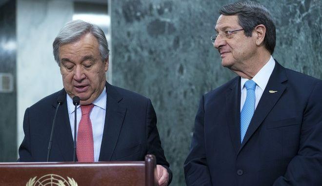 Ο γγ του ΟΗΕ Αντόνιο Γκουτέρες και ο Πρόεδρος της Κυπριακής Δημοκρατίας Νίκος Αναστασιάδης