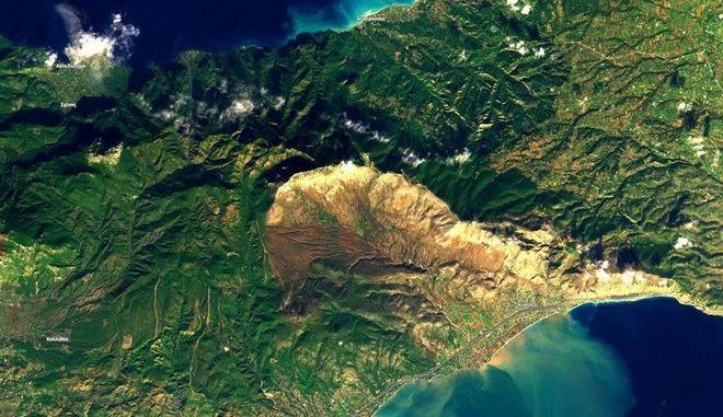 """Κακοκαιρία """"Γηρυόνης"""": Δορυφόρος φωτογράφισε τις καταστροφικές πλημμύρες στην Κινέττα"""