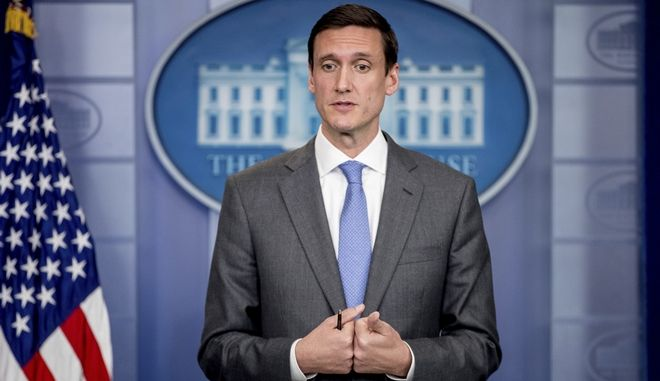 Homeland security and counterterrorism adviser Tom Bossert speaks about malware known as WannaCry, Monday, May 15, 2017, during the daily press briefing at the White House in Washington. President Donald Trumps homeland security adviser has a message to those blaming U.S. intelligence agencies for the cyberattack encircling the globe: Dont point a finger at the National Security Agency. Blame the hackers. (AP Photo/Andrew Harnik)