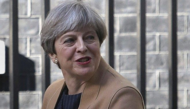 Prime Minister Theresa May leaves 10 Downing Street in London, Tuesday April 18, 2017.  May has called for a snap June 8 General Election, seeking to strengthen her hand in ongoing European Union exit talks and tighten her grip on a fractious Conservative Party.  (Philip Toscano/PA via AP)