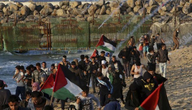 Πλάνο από διαδήλωση Παλαιστίνιων στη Γάζα