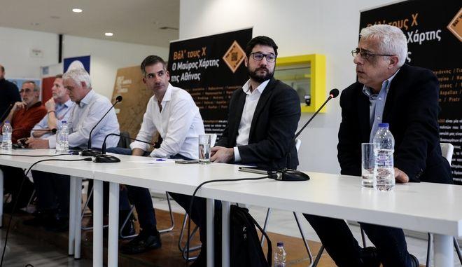 """Συζήτηση των υποψηφίων δημάρχων της Αθήνας στο πλαίσιο της έκθεσης """"βαλ' τους Χ. Ο μαύρος χάρτης της Αθήνας"""", για τον ρόλο της αυτοδιοικησης στη ρατσιστική βία στο δρόμο. Κυριακή 17 Μαρτίου 2019. (EUROKINISSI/ ΣΤΕΛΙΟΣ ΜΙΣΙΝΑΣ)"""