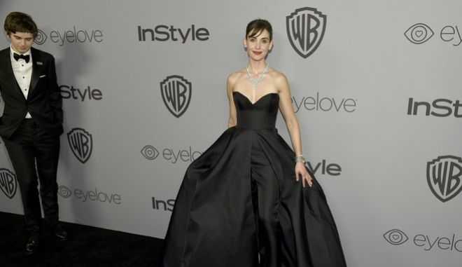 Alison Brie arrives at the InStyle and Warner Bros. Golden Globes afterparty at the Beverly Hilton Hotel on Sunday, Jan. 7, 2018, in Beverly Hills, Calif. (Photo by Chris Pizzello/Invision/AP)