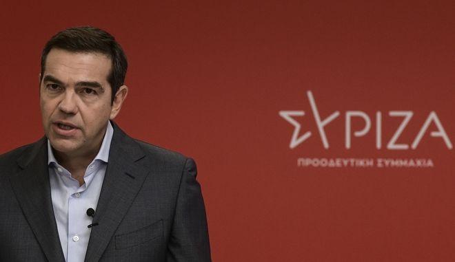 Στιγμιότυπο από συνέντευξη Τύπου του προέδρου του ΣΥΡΙΖΑ-Προοδευτική Συμμαχία Αλέξη Τσίπρα