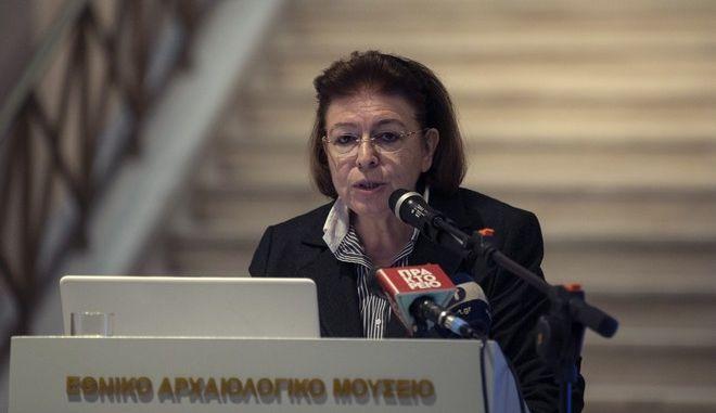 Η Υπουργός Πολιτισμού Λίνα Μενδώνη μιλά στο Εθνικό Αρχαιολογικό Μουσείο στην Αθήνα την Τετάρτη 13 Νοεμβρίου 2019