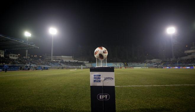 Μπάλα στο βάθρο πριν από την έναρξη του παιχνιδιού του πρωταθλήματος μεταξύ της Λαμίας και του Παναθηναϊκού την Δευτέρα 21 Ιανουαρίου 2019