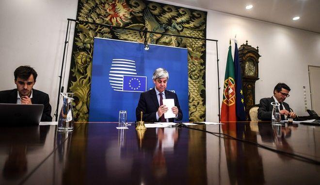 Ο Πρόεδρος του eurogroup Μάριο Σεντένο σε τηλεδιάσκεψη με τους υπουργούς και τα μέλη της Ε.Ε